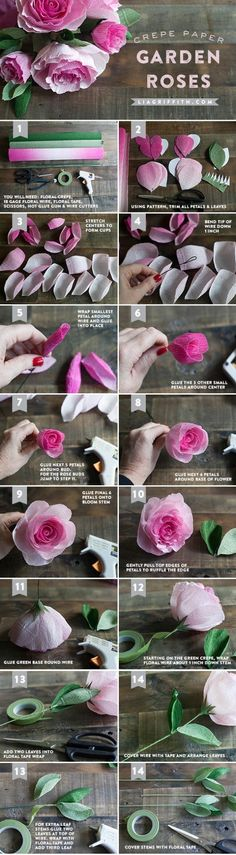 DIY Crepe Paper Ombré Garden Roses - Lia Griffith - - Make this gorgeous ombre crepe paper rose bouquet using my printable template and step-by-step tutorial! You are sure to impress your valentine this year. Crepe Paper Roses, Tissue Paper Flowers, Felt Flowers, Diy Flowers, Fabric Flowers, Paper Peonies, Flower Paper, Tutorial Rosa, Rose Tutorial