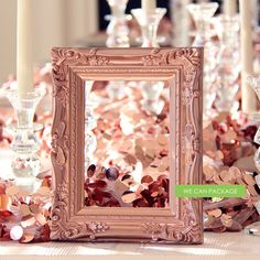 """ROSE GOLD Picture Frame Vintage Shabby Chic Photo 5"""" x 7"""" ($8.50) ❤ liked on Polyvore featuring home, home decor, frames, floral home decor, birthday frames, open back frames, rose gold home decor and wedding picture frames"""