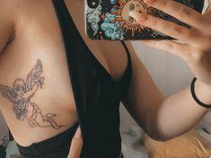 Rib Cage Tattoos, Tattoos On Side Ribs, Side Boob Tattoo, Flower Tattoo On Side, Wrist Tattoo, I Tattoo, Piercing Tattoo, Piercings, Cupid Tattoo