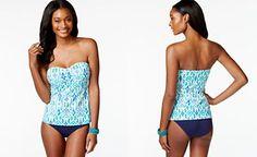 Tommy Bahama Printed Bandeau Tankini Top & Ruched Side-Tab Hipster Bikini Bottom