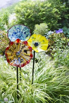 Art Glass Flowers, Set of 3