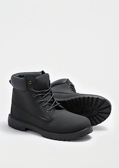 Black Faux Leather Hiking Boot | rue21