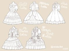 Draw dresses with ruffles and frills
