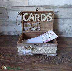 Pénzgyűjtő doboz pajta rusztikus stílusú esküvőre kártyagyűjtő doboz láda fadoboz, Esküvő, Esküvői dekoráció, Nászajándék, Gyűrűpárna, Meska