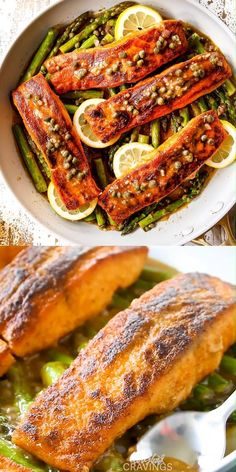 Salmon and Asparagus bathed in Lemon Piccata Sauce is irresistibly delicious and on your table in 25 minutes all made in ONE PAN! videos cravings seafood Salmon and Asparagus in Lemon Piccata Sauce - 30 MINUTES! Best Seafood Recipes, Healthiest Seafood, Salmon Recipes, Healthy Dinner Recipes, Cooking Recipes, Lunch Recipes, Easy Recipes, Salmon And Shrimp, Salmon And Asparagus