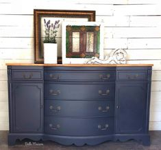 """We're seeing navy everywhere in home decor this year, it's supposed to be the ""new black."" This gorgeous buffet is painted in Coastal Blue Milk Paint by General Finishes with a golden pine stained top. Pine Furniture, Kitchen Furniture, Furniture Makeover, Furniture Design, Painting Furniture, Hutch Makeover, Refinished Furniture, Furniture Removal, Upcycled Furniture"