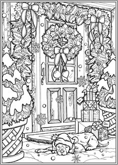 Christmas Coloring Sheets, Printable Christmas Coloring Pages, Printable Adult Coloring Pages, Coloring Pages Winter, Cute Coloring Pages, Coloring Pages For Adults, Dover Coloring Pages, Bible Verse Coloring Page, Coloring Book Art
