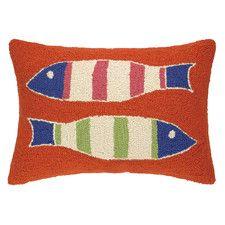 Picket Fish Hooked Wool Lumbar Pillow