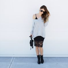 Oversized sweater, black slip dress and ankle boots #lace #sweater #ontheblog