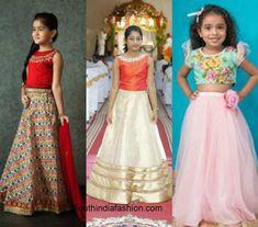 Wedding fashion for kids – A Guide Golden Lehnga, Western Dresses, Half Saree, Wedding Styles, Sarees, Kids Fashion, That Look, Skirts, Cute