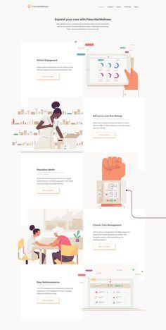 A complete overhaul of the PrescribeWellness corporate identity and website. Ui Design, Flat Web Design, Minimal Web Design, Dashboard Design, Web Design Agency, Web Design Tips, Layout Design, Branding Design, Design Process