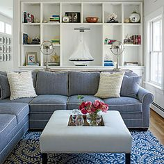 The White Piping on the Blue Sectional is my Idea of Coastal Decor Blue And White Living Room, Coastal Decor, Room Design, Home, Beach House Decor, Living Room Interior, Maine Cottage, Beachy Living Room, Blue Sectional