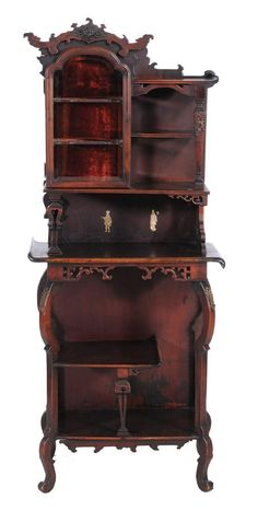 French Chinoiserie Walnut Display Cabinet.
