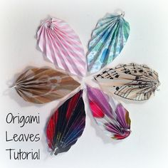 Origami Leaves ~may be cool for pendant making if you brush with resin afterward.