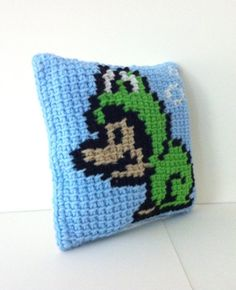 Super Mario Frog Suit Accent Pillow  Nintendo  Tunisian