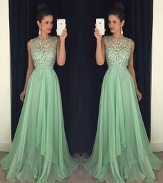 2017 Abendkleider Elegant Mint Green Chiffon Long Evening Dress, 2017 Vintage Mint Green Prom Dress, Luxury Beaded Formal Party Dress, A Line Jewel Neck Floor Length Pageant Gala Dress, Plus Size Cheap Sexy Sheer Prom Dresses Long Prom Dresses 2016, Backless Prom Dresses, Prom Dresses For Sale, A Line Prom Dresses, Formal Dresses, Dresses Dresses, Long Dresses, Formal Prom, Mint Prom Dresses