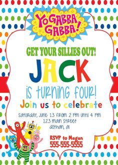 Yo Gabba Gabba Invitation Yo Gabba Gabba Invite DJ by MKellyDesign