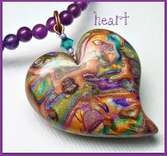 Multicolor Heart Pendant Necklace Mica Shift by BeadazzleMe