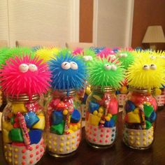 Willy Wonka Party : Favors : Neon marshmallows, buttons, old school candy with toys on the top of Mason jars! Neon Birthday, Monster Birthday Parties, Birthday Party Favors, Candy Party Favors, Birthday Ideas, Birthday Gifts, Skating Party Favors, Hawaiian Party Favors, Kids Birthday Treats