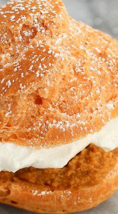Pumpkin Pie Cream Puffs ~ They are little pumpkin pie flavored puffs of yumminess.