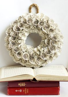 This small wreath, handmade from the pages of vintage church hymnals, will add a beautiful shabby chicness to your decor!    ~~~~~WHAT YOU