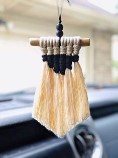 Rearview Mirror Charm / Macrame Rearview Mirror Hanging / Essential Oil Mirror Charm / Car Accessories for Women Rear View Mirror, Car Mirror, Mirror Hanging, Macrame Rings, Car Accessories For Women, Nursery Room Decor, Lovely Shop, Macrame Patterns, Coordinating Colors