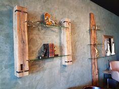 Decorative wall shelf made of old oak beams with glass shelves. Old wood shelf E . - Decorative wall shelf made of old oak beams with glass shelves. Old oak shelf. Oak Shelves, Glass Shelves, Wood Shelf, New Kitchen Doors, Wall Shelf Decor, Home Grown Vegetables, Kitchen Lighting Fixtures, Old Wood, Beams