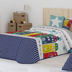 Colcha Bouti GEA Antilo. Colcha Bouti Estampada, con un divertido diseño infantil, perfecta para combinar con decoraciones coloridas. Disponible en un único color, y en medidas para camas desde 90 hasta 150 cm. Incluye funda(s) de Cojín(es) a juego.