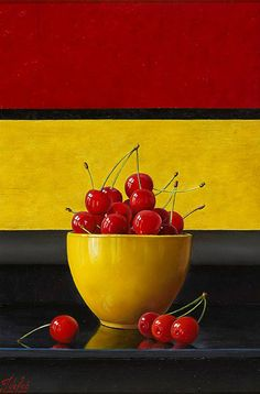 Spanish Cherries by Johan de Fre (original: oil on panel)