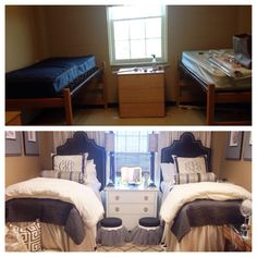 Dorm room before & after // WOW. Could definitely be done to transform a Baylor dorm!