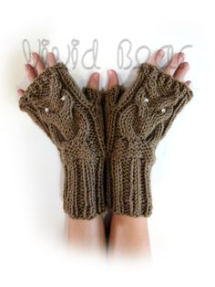 Knit Owl Cable Fingerless Gloves. Brown or 44 Colors. Arm Warmers. Clear Crystal Eyes Owl. Winter Accessory for Women and Teens. Arm Cuffs. by VividBear on Etsy