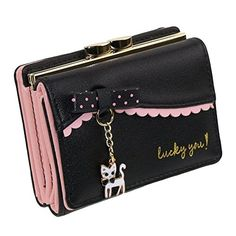 The Orient Bee Women's Faux Leather Cute Kitty Bowknot Small Wallet Coin Card Holder Wallet (Black) Rfid Wallet, Clutch Wallet, Leather Wallet, Leather Bag, Small Coin Purse, Small Wallet, Cute Wallets, Coin Card, Wallets For Women