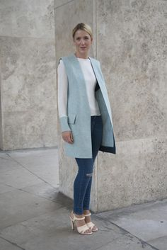 How to Wear Denim to Work - Casual Friday Office Style - Skinny Jeans and Sleeveless Jacket