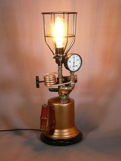 Steampunk Turner Torch Lamp Edison Bulb Steampunk by MasterGreig,