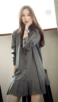 Fashiontroy Street style long sleeves shirt collar grey pleated striped cotton blend mini  shirt dress
