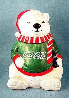 Which Coca-Cola Cookie Jar Is Your Collection Missing?: Coke Coca-Cola Bear with Sweater Cookie Jar Coca Cola Cake, Coca Cola Santa, Coca Cola Polar Bear, Coca Cola Christmas, Christmas Cookie Jars, Christmas Figurines, Christmas Kitchen, Merry Christmas, Christmas Ornaments