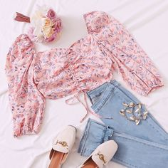 To find out about the Lantern Sleeve Drawstring Ruched Front Crop Blouse at SHEIN, part of our latest Blouses ready to shop online today! Cute Comfy Outfits, Girly Outfits, Chic Outfits, Pretty Outfits, Girls Fashion Clothes, Winter Fashion Outfits, Summer Outfits, Cute Dresses For Teens, Teen Dresses