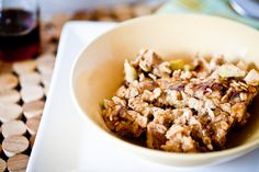 Baked Apple Cinnamon Raisin French Toast Oatmeal - Vegan