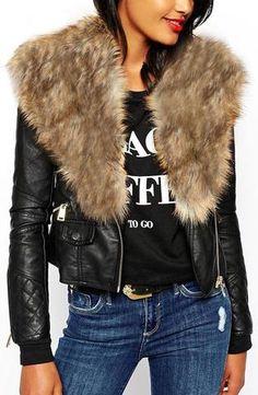 Faux-Leather & Fur Trim Jacket - Brown Fur