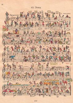 Russian artist duo People Two bring sheet music to life with illustrations of everyday life.