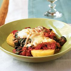 Italian Eggs over Spinach and Polenta - Quick-and-Easy Vegetarian Recipes - Cooking Light