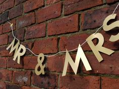 Luxury handmade paper decorations Mr & Mrs banner Also available as Mr & Mr, and Mrs & Mrs  Letter banners in our store paperstreetdolls.etsy.com