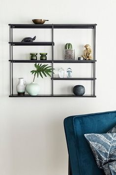 Ellos Home Hylle Flex - Svart - Hjem & innredning - Ellos.no Navy Headboard, Scandinavian Shelves, Paint Color Schemes, Interior Decorating, Interior Design, Living Room Decor, Sweet Home, Wall Decor, House Design