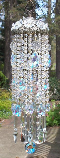 Sun Goddess Antique Brass and Crystal Wind Chime by sheriscrystals, $184.95