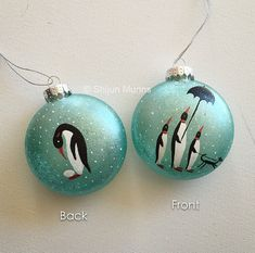 Penguin Christmas Ornament Handpainted Penguin with by ShijunArt For the white and blue tree