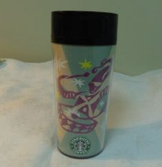 Starbucks 16 oz Plastic Tumbler Travel Mug Purple Jester Drum Player