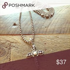 Silpada Sterling Silver Necklace Chain with Cross Silpada Sterling Silver Necklace Chain with Cross Pendant with Pearl Center!! 13 1/2inch long Necklace that gives you a signature everyday look! Just beautiful!!! Silpada Jewelry Necklaces