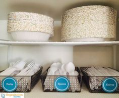 organize your paper products i need to do this all my paper plates are crammed in next to the. Black Bedroom Furniture Sets. Home Design Ideas
