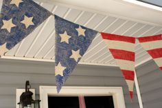 Patriotic banner for the patio. Even looks like my house.