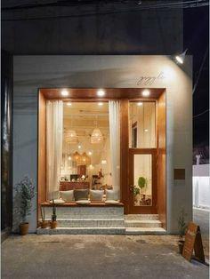 Cafe Shop Design, Coffee Shop Interior Design, Small Cafe Design, Restaurant Interior Design, Home Interior, Shop Front Design, Café Restaurant, Modern Restaurant, Cafe Exterior